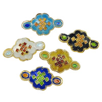 Smooth Cloisonne Beads, Chinese Knot, handmade, more colors for choice, 22x12x4.5mm, Hole:Approx 1mm, Sold By PC
