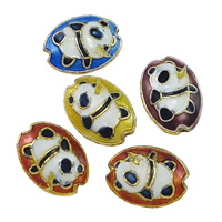 Smooth Cloisonne Beads, Flat Oval, handmade, more colors for choice, 10x14x5mm, Hole:Approx 1mm, Sold By PC