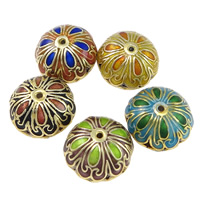 Smooth Cloisonne Beads, Flower, handmade, more colors for choice, 18x13.5mm, Hole:Approx 1mm, Sold By PC