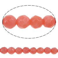 Natural Coral Beads, Round, faceted, pink, Grade AA, Length:16 Inch, Sold By Strand