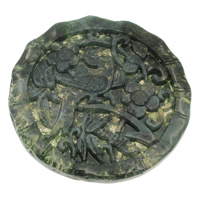 Moss Agate Pendants, Flat Round, Carved, 50x6mm, Hole:Approx 1mm, Sold By PC