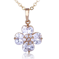 Gets® Jewelry Pendant, Brass, Flower, 18K gold plated, with cubic zirconia & faceted, nickel, lead & cadmium free, 15x23mm, Hole:Approx 3-5mm, Sold By PC
