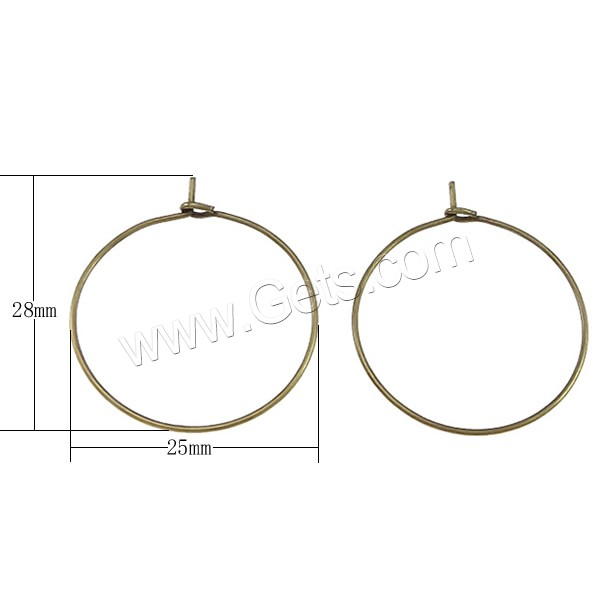 Brass Hoop Earring Components, plated, more colors for choice, cadmium free, 25x28x0.7mm, Sold By Pair