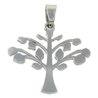 Stainless Steel Pendants, Tree, original color, 33x30x1.5mm, Hole:Approx 4x7mm, Sold By PC