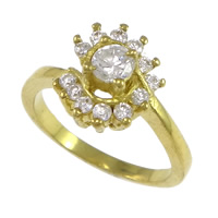 Cubic Zirconia Micro Pave Brass Finger Ring, Flower, plated, micro pave cubic zirconia, more colors for choice, nickel, lead & cadmium free, 11mm, US Ring Size:6, Sold By PC