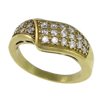 Cubic Zirconia Micro Pave Brass Finger Ring, plated, micro pave cubic zirconia, more colors for choice, nickel, lead & cadmium free, 8mm, US Ring Size:7, Sold By PC