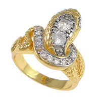 Cubic Zirconia Micro Pave Brass Finger Ring, Snake, plated, micro pave cubic zirconia & two tone, nickel, lead & cadmium free, 19mm, US Ring Size:7.5, Sold By PC