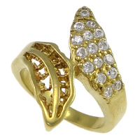 Cubic Zirconia Micro Pave Brass Finger Ring, plated, micro pave cubic zirconia & hollow, more colors for choice, nickel, lead & cadmium free, 24mm, US Ring Size:8, Sold By PC