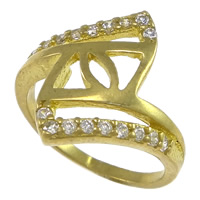 Cubic Zirconia Micro Pave Brass Finger Ring, plated, micro pave cubic zirconia & hollow, more colors for choice, nickel, lead & cadmium free, 18mm, US Ring Size:6, Sold By PC