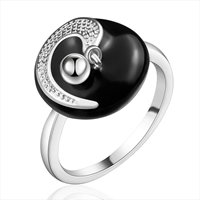 comeon® Finger Ring, Brass, Flat Round, real silver plated, different size for choice & enamel, 15x15mm, Sold By PC