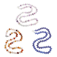 Gemstone Necklaces, Mixed Material, with Nylon Cord, zinc alloy lobster clasp, mixed, 8x5mm, Length:Approx 17-19 Inch, 3Strands/Bag, Sold By Bag