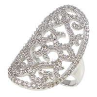 Cubic Zirconia Micro Pave Brass Finger Ring, Flat Oval, plated, micro pave cubic zirconia & hollow, more colors for choice, nickel, lead & cadmium free, 19x33x2mm, US Ring Size:7, Sold By PC