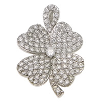 Cubic Zirconia Micro Pave Sterling Silver Pendant, 925 Sterling Silver, Four Leaf Clover, plated, micro pave cubic zirconia, more colors for choice, 26x37x7mm, Hole:Approx 2.5x7mm, Sold By PC