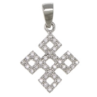 Cubic Zirconia Micro Pave Sterling Silver Pendant, 925 Sterling Silver, Chinese Knot, plated, micro pave cubic zirconia, more colors for choice, 14.5x18x1.5mm, Hole:Approx 3.5x4.5mm, Sold By PC