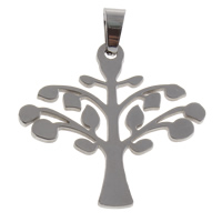 Stainless Steel Pendants, Tree, original color, 32x30x1.5mm, Hole:Approx 4x8mm, Sold By PC
