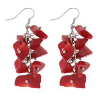 Coral Drop Earring, Natural Coral, brass earring hook, red, 17x55mm, Sold By Pair
