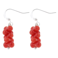 Coral Drop Earring, Natural Coral, brass earring hook, Barbell, red, 8x33mm, Sold By Pair