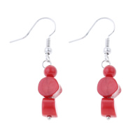 Coral Drop Earring, Natural Coral, brass earring hook, red, 8x41mm, Sold By Pair