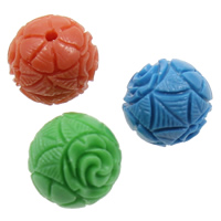 Carved Natural Coral Beads, Synthetic Coral, Round, mixed colors, 12mm, Hole:Approx 1.5mm, Sold By PC