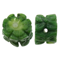 Carved Natural Coral Beads, Synthetic Coral, Flower, green, 11-13mm, 7-9mm, Hole:Approx 2mm, Sold By PC