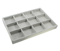 Velveteen Bracelet Display, with Sponge & Cardboard, Rectangle, 12 cells, grey, 350x241x31mm, Sold By PC