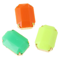 Claw Sew On Stone, Resin, with Iron, Octagon, gold color plated, faceted & double-hole & solid color, more colors for choice, 10x14x6mm, Hole:Approx 1mm, Sold By PC