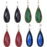 Resin Zinc Alloy Earring, with rubber earnut & Resin, Teardrop, antique gold color plated, faceted & with rhinestone, more colors for choice, 15.9x40.7mm, Sold By Pair