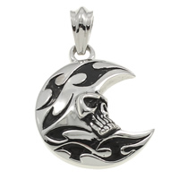 Stainless Steel Pendants, Moon, with skull pattern & blacken, 35x44x12mm, Hole:Approx 7x10mm, Sold By PC