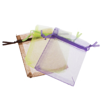 Organza Jewelry Pouches, Rectangle, different size for choice & solid color, mixed colors, Sold By PC