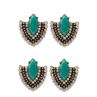 Resin Zinc Alloy Earring, with Resin, antique gold color plated, faceted & with rhinestone, 24x23mm, Sold By Pair
