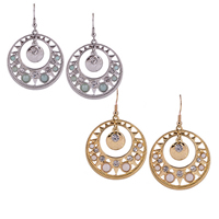 Resin Zinc Alloy Earring, with Resin, Flat Round, plated, faceted & with rhinestone, more colors for choice, 35.4x37.9mm, Sold By Pair