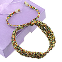 Friendship Bracelets, Waxed Cotton Cord, with Glass, adjustable, multi-colored, 14mm, 5mm, Length:6-11 Inch, Sold By Strand