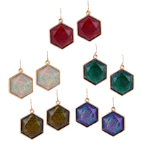 Resin Zinc Alloy Earring, with Resin, Hexagon, gold color plated, faceted, more colors for choice, 24.52x42.14mm, Sold By Pair