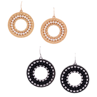 Resin Zinc Alloy Earring, with Resin, Donut, plated, more colors for choice, 34.3x49.3mm, Sold By Pair