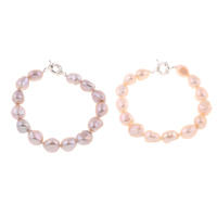 Cultured Freshwater Pearl Bracelets, brass clasp, Baroque, natural, different styles for choice, more colors for choice, 10-11mm, Length:Approx 7.5 Inch, Sold By Strand