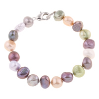 Cultured Freshwater Pearl Bracelets, brass clasp, Baroque, different styles for choice, multi-colored, 8-9mm, Length:Approx 7.5 Inch, Sold By Strand