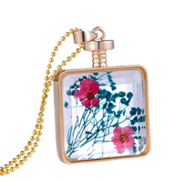Floating Charm Necklace, Zinc Alloy, with Dried Flower & Glass, Bottle, gold color plated, ball chain & faceted, 30x30x7mm, Length:Approx 23.6 Inch, Sold By Strand