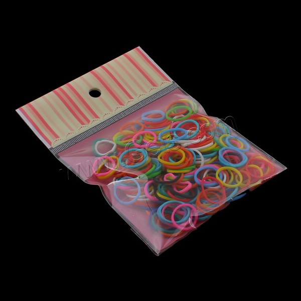 Loom Bands, Rubber, with OPP Bag, solid color, mixed colors, 15x1mm, 100x170mm, Approx 280PCs/Bag, Sold By Bag