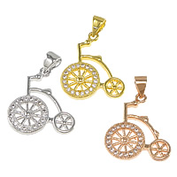 Cubic Zirconia Micro Pave Brass Pendant, Bike, plated, micro pave cubic zirconia, more colors for choice, nickel, lead & cadmium free, 17x20x2mm, Hole:Approx 3.5x4.5mm, Sold By PC
