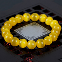 Cats Eye Bracelets, Round, different size for choice, yellow, Length:Approx 7.5 Inch, Sold By Strand