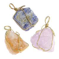 Natural Quartz Pendants, with Brass, plated, mixed, 19x37x13mm-21x43x23mm, Hole:Approx 6mm, 50PCs/Bag, Sold By Bag