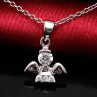 Cubic Zirconia Micro Pave Sterling Silver Pendant, 925 Sterling Silver, Angel, platinum plated, micro pave cubic zirconia, 10x11mm, Hole:Approx 3x5mm, Sold By PC