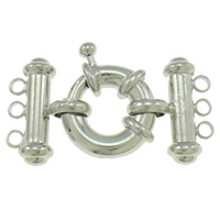 Brass Spring Ring Clasp, plated, 3-strand, more colors for choice, nickel, lead & cadmium free, 20x26x8mm, Hole:Approx 2mm, Sold By PC