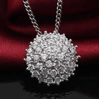 Cubic Zirconia Micro Pave Sterling Silver Pendant, 925 Sterling Silver, Flat Round, platinum plated, micro pave cubic zirconia, 15x15mm, Hole:Approx 3-5mm, Sold By PC
