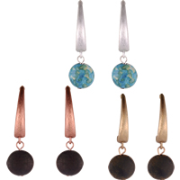 Resin Zinc Alloy Earring, with Resin, stainless steel earring hook, Flat Round, plated, more colors for choice, 12.25x40.47mm, Sold By Pair