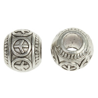 Zinc Alloy European Beads, Drum, plated, without troll, more colors for choice, nickel, lead & cadmium free, 10x11mm, Hole:Approx 4mm, Approx 345PCs/KG, Sold By KG