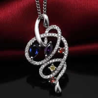 Cubic Zirconia Micro Pave Sterling Silver Pendant, 925 Sterling Silver, platinum plated, micro pave cubic zirconia & hollow, 18x33mm, Hole:Approx 3x5mm, Sold By PC