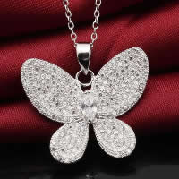 Cubic Zirconia Micro Pave Sterling Silver Pendant, 925 Sterling Silver, Butterfly, platinum plated, micro pave cubic zirconia, 21x25mm, Hole:Approx 3x5mm, Sold By PC