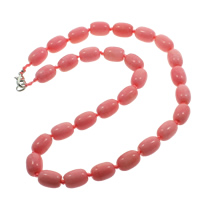 Rhodonite Necklace, zinc alloy lobster clasp, Column, natural, 15x10mm, Length:Approx 18 Inch, Sold By Strand