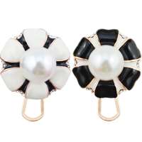 Resin Zinc Alloy Earring, with Resin Pearl, stainless steel earring post and Omega clip, Flower, real gold plated, enamel & with rhinestone, more colors for choice, nickel, lead & cadmium free, 24x24mm, 12Pairs/Lot, Sold By Lot
